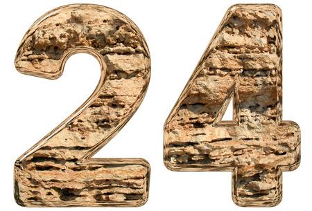 limestone: Numeral 24, twenty four, isolated on white, natural limestone, 3d illustration