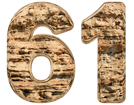limestone: Numeral 61, sixty one, isolated on white, natural limestone, 3d illustration