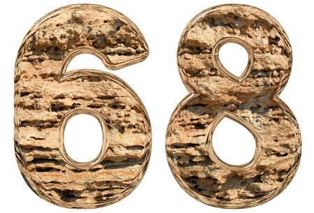limestone: Numeral 68, sixty eight, isolated on white, natural limestone, 3d illustration Stock Photo