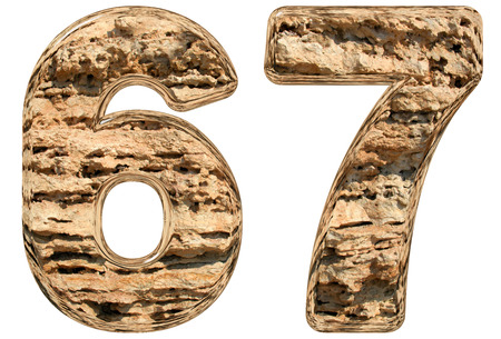 limestone: Numeral 67, sixty seven, isolated on white, natural limestone, 3d illustration