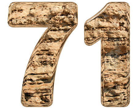 limestone: Numeral 71, seventy one, isolated on white, natural limestone, 3d illustration