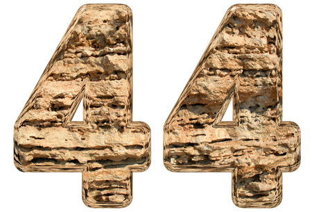 limestone: Numeral 44, forty four, isolated on white, natural limestone, 3d illustration Stock Photo