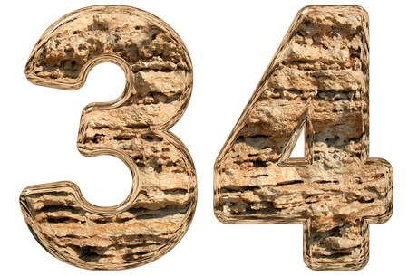 limestone: Numeral 34, thirty four, isolated on white, natural limestone, 3d illustration