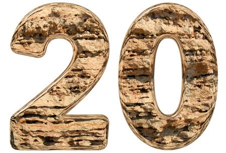 limestone: Numeral 20, twenty, isolated on white, natural limestone, 3d illustration Stock Photo