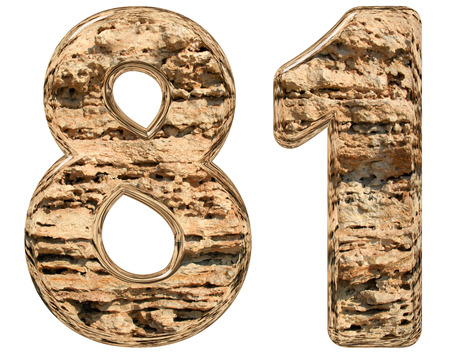 limestone: Numeral 81, eighty one, isolated on white, natural limestone, 3d illustration