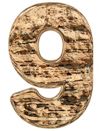 limestone: Numeral 9, nine, isolated on white, natural limestone, 3d illustration