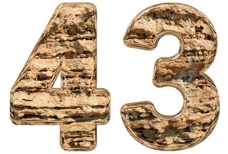 limestone: Numeral 43, forty three, isolated on white, natural limestone, 3d illustration Stock Photo