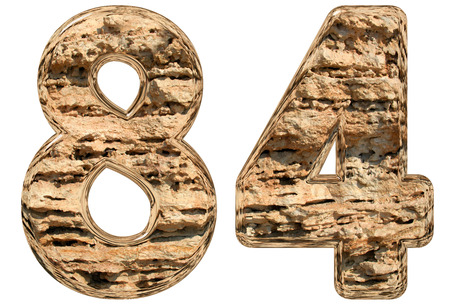 limestone: Numeral 84, eighty four, isolated on white, natural limestone, 3d illustration