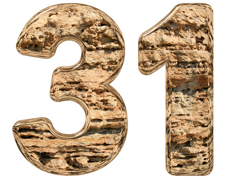 limestone: Numeral 31, thirty one, isolated on white, natural limestone, 3d illustration Stock Photo