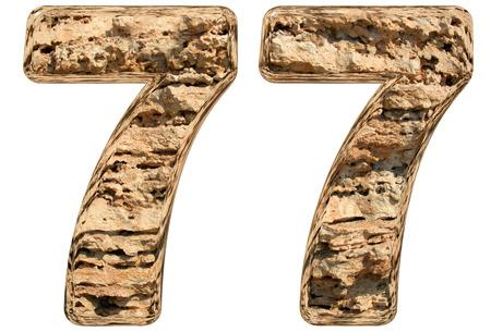 limestone: Numeral 77, seventy seven, isolated on white, natural limestone, 3d illustration