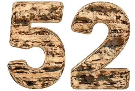 limestone: Numeral 52, fifty two, isolated on white, natural limestone, 3d illustration