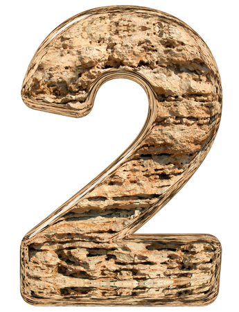 limestone: Numeral 2, two, isolated on white, natural limestone, 3d illustration