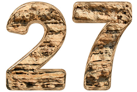 Numeral 27, twenty seven, isolated on white, natural limestone, 3d illustration