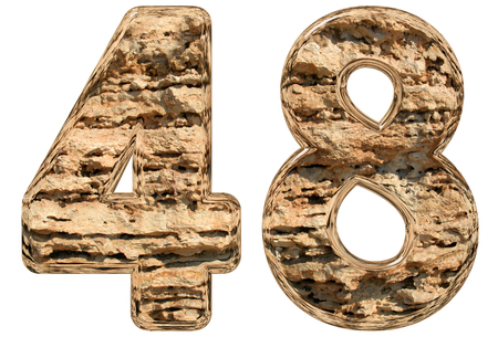 Numeral 48, forty eight, isolated on white, natural limestone, 3d illustration
