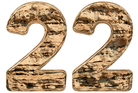Numeral 22, twenty two, isolated on white, natural limestone, 3d illustration