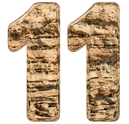 number eleven: Numeral 11, eleven, isolated on white, natural limestone, 3d illustration