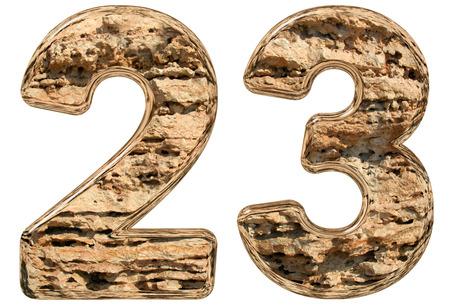 limestone: Numeral 23, twenty three, isolated on white, natural limestone, 3d illustration