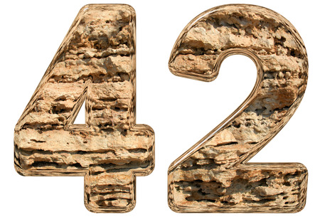 limestone: Numeral 42, forty two, isolated on white, natural limestone, 3d illustration Stock Photo