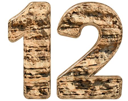 limestone: Numeral 12, twelve, isolated on white, natural limestone, 3d illustration Stock Photo