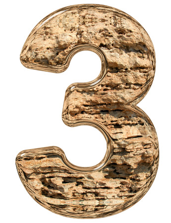 limestone: Numeral 3, three, isolated on white, natural limestone, 3d illustration Stock Photo