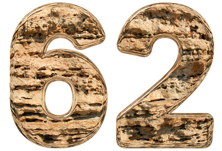 limestone: Numeral 62, sixty two, isolated on white, natural limestone, 3d illustration
