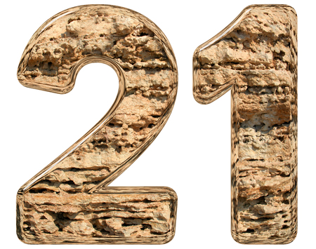 limestone: Numeral 21, twenty one, isolated on white, natural limestone, 3d illustration Stock Photo