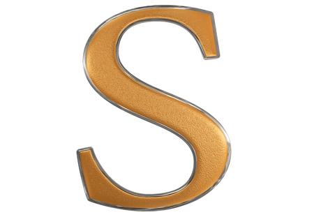 Uppercase letter S, isolated on white, 3D illustration