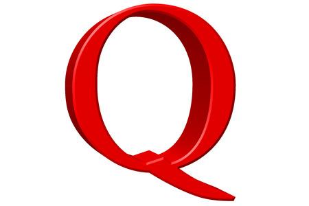 Uppercase letter Q, isolated on white, 3D illustration Stock Photo