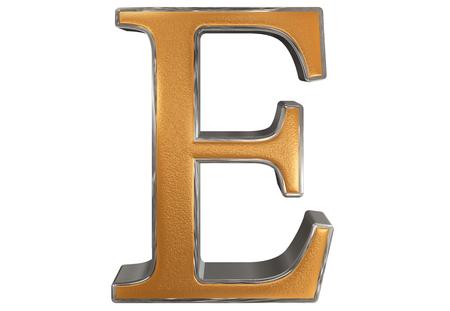 e white: Uppercase letter E, isolated on white, 3D illustration