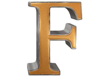 Uppercase letter F, isolated on white, 3D illustration