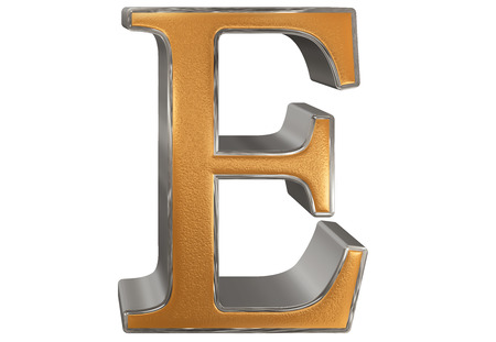 Uppercase letter E, isolated on white, 3D illustration