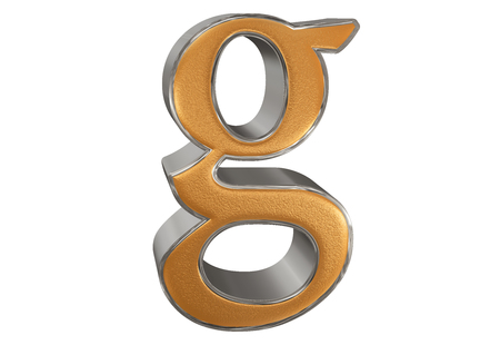 Lowercase letter G, isolated on white, with clipping path, 3D illustration
