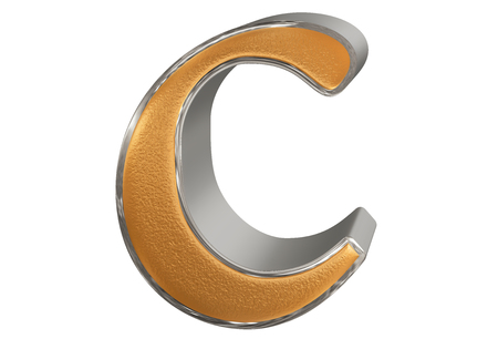 Lowercase letter C, isolated on white, with clipping path, 3D illustration Stock Photo