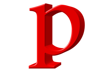 Lowercase letter P, isolated on white, with clipping path, 3D illustration Stock Photo