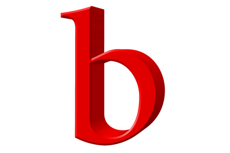Lowercase letter B, isolated on white, with clipping path, 3D illustration Stock Photo