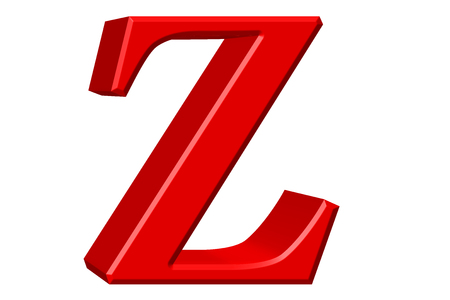 Lowercase letter Z, isolated on white, with clipping path, 3D illustration Stock Photo