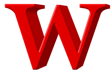 Lowercase letter W, isolated on white, with clipping path, 3D illustration
