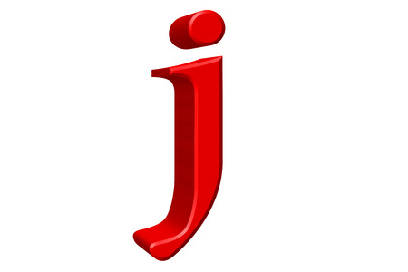 Lowercase letter J, isolated on white, with clipping path, 3D illustration