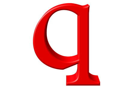 Lowercase letter Q, isolated on white, with clipping path, 3D illustration