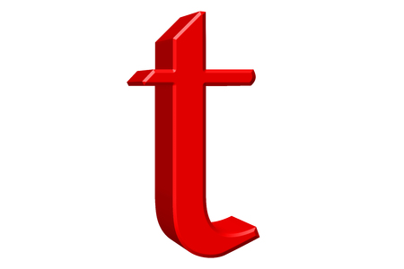 Lowercase letter T, isolated on white, with clipping path, 3D illustration