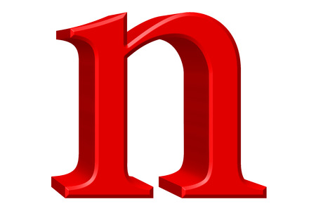 Lowercase letter N, isolated on white, with clipping path, 3D illustration Stock Photo