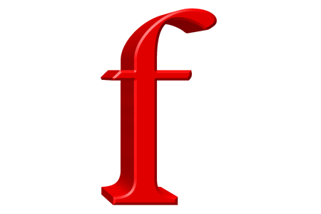 Lowercase letter F, isolated on white, with clipping path, 3D illustration Stock Photo