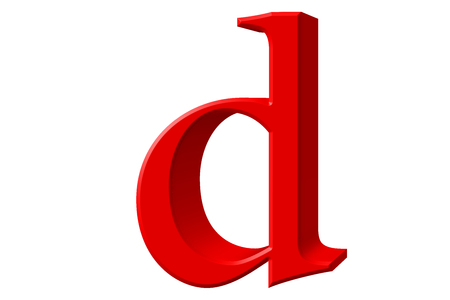 Lowercase letter D, isolated on white, with clipping path, 3D illustration