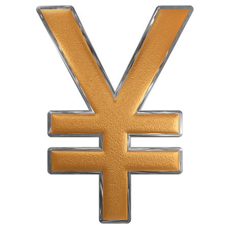 Symbol of Japanese yen, isolated on white  background, 3D illustration Stock Photo