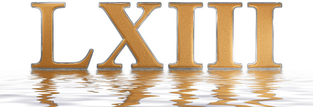 Roman numeral LXIII, tres et sexaginta, 63, sixty three, reflected on the water surface, isolated on  white, 3d render