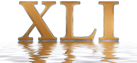Roman numeral XLI, unus et quadraginta, 41, forty one, reflected on the water surface, isolated on  white, 3d render