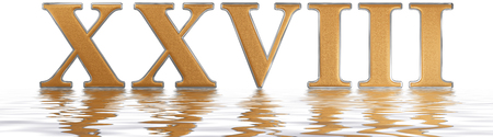 Roman numeral XXVIII, octo et viginti, 28, twenty eight, reflected on the water surface, isolated on  white, 3d render