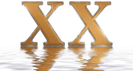 Roman numeral XX, viginti, 20, twenty, reflected on the water surface, isolated on  white, 3d render