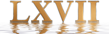 meditative: Roman numeral LXVII, septem et sexaginta, 67, sixty seven, reflected on the water surface, isolated on  white, 3d render Stock Photo