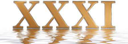 Roman numeral XXXI, unus et triginta, 31, thirty one, reflected on the water surface, isolated on  white, 3d render Stock Photo